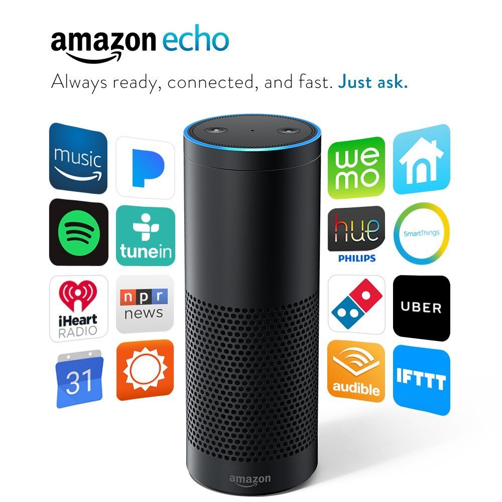 photo of amazon echo. Icons of various services and products it connects to are displayed on both sides of it.