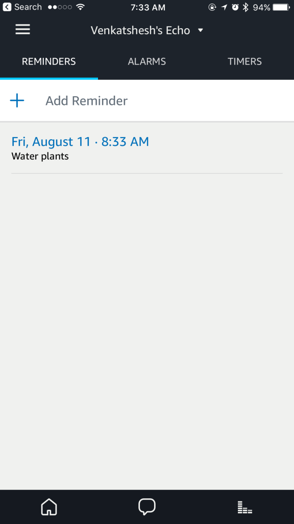Screenshot of reminders displayed in the Amazon Alexa app on the iphone.