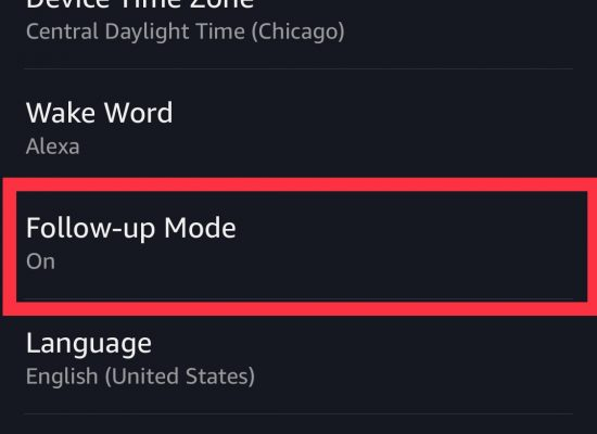 """image showing """"follow up mode"""" setting turned to on. This can be enabled by going into the alexa app, menu, settings, choosing the alexa device and scrolling all the way down to follow up mode. If it is off, toggle it to turn it on."""